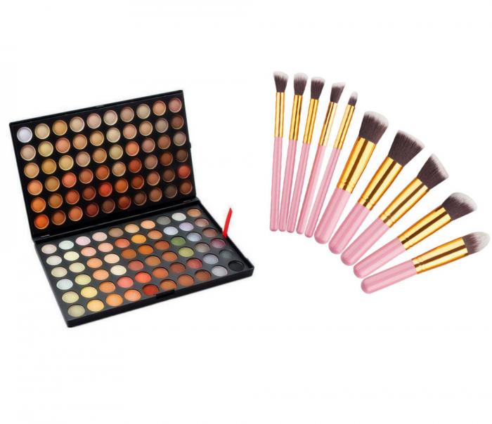 Set Profesional Pentru Machiaj Cu Trusa De Farduri 120 Nuante P4 Si 10 Pensule Top Quality Kabuki, Pink Gold