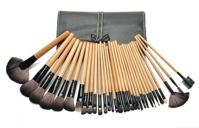 Set de 32 Pensule Profesionale din Par Natural Top Quality Hair - WOOD-big
