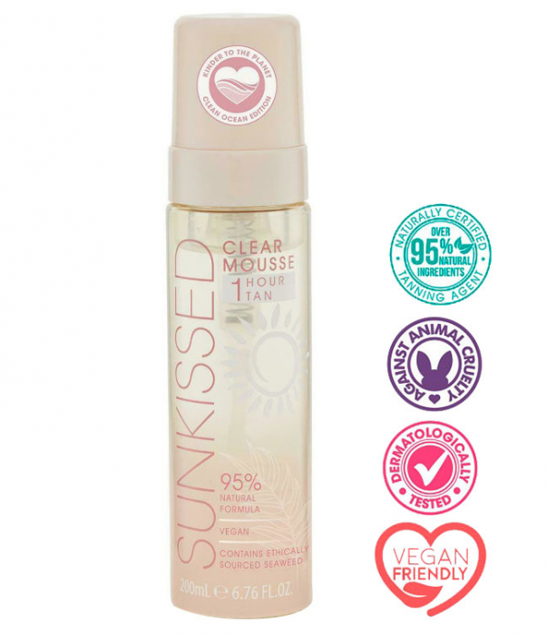 Spuma Autobronzanta Profesionala SUNKISSED Clear, 95% Ingrediente Naturale, 1Hour Tan, 200 ml-big