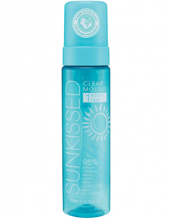 Spuma Autobronzanta Profesionala SUNKISSED Clear, 95% Ingrediente Naturale, Ocean Edition, 1Hour Tan, 200 ml-big