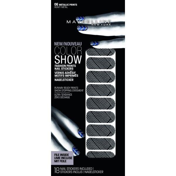 Stickere unghii Maybelline New York COLOR SHOW Fashion Prints, 06 Heavy Metal, 18 bucati-big