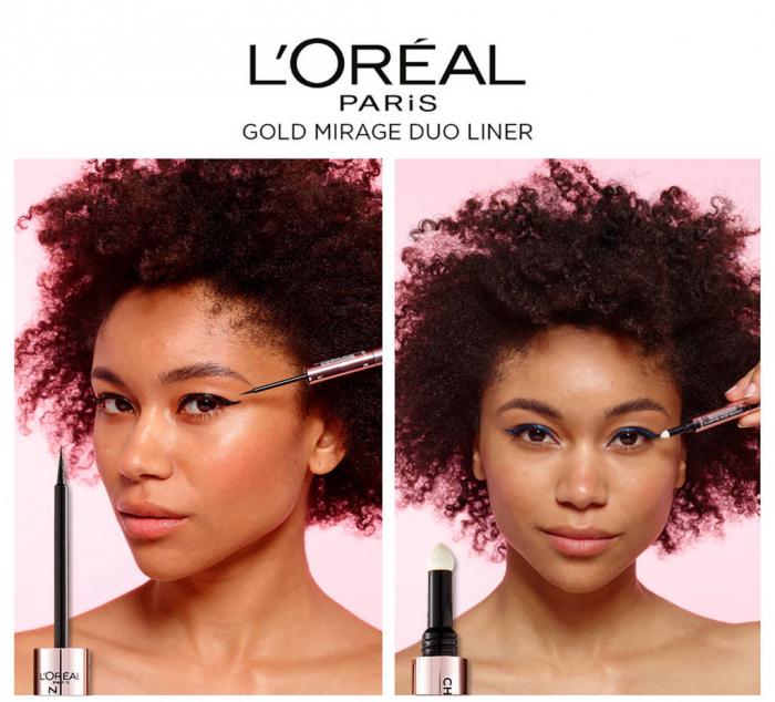 Tus de ochi duo L'Oreal Paris Gold Mirage Chameleon Quartz Shade Shifting, 01 Sapphire Light, Negru/Albastru-big