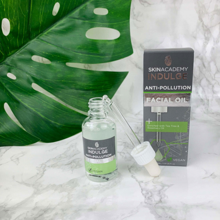Ulei facial hidratant si protector cu Arbore de Ceai si Ulei de Rozmarin SKIN ACADEMY Anti-Pollution Facial Oil, 30 ml-big