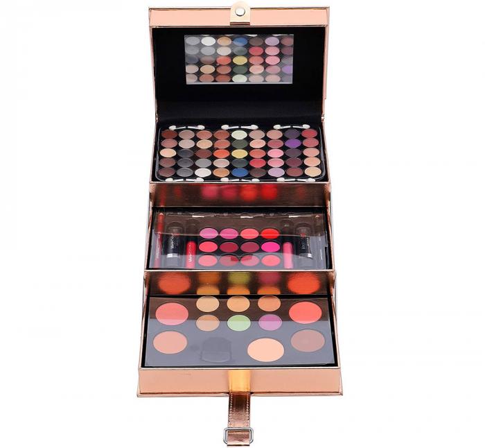 Set profesional pentru machiaj cu geanta reutilizabila Magic Color Makeup Kit, Rose Gold, 85 piese-big