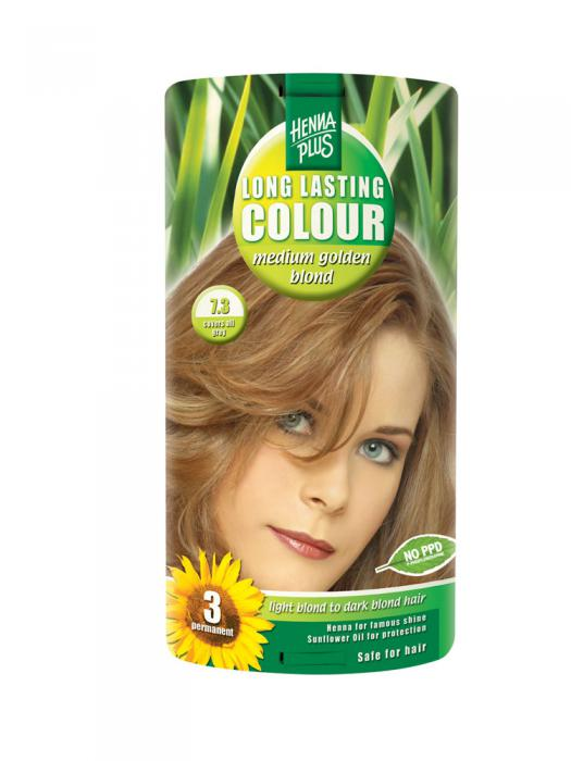 Vopsea de Par HennaPlus Long Lasting Colour - Medium Golden Blond 7.3-big