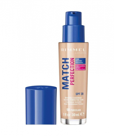 Fond de ten Rimmel London Match Perfection, 90 Porcelain, SPF 20, 30 ml0