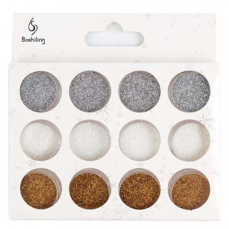 Sclipici pentru unghii, set 12 bucati, 01 Silver Crystals