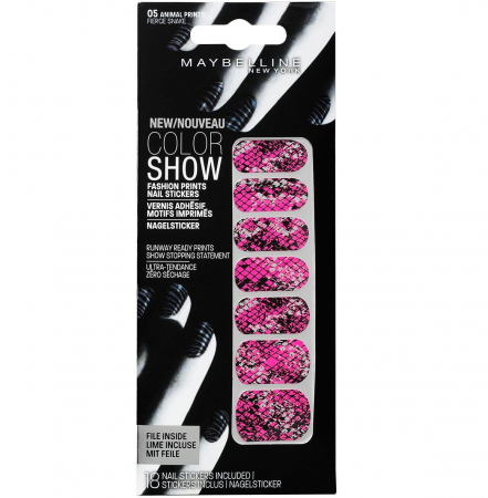 Stickere unghii Maybelline New York COLOR SHOW Fashion Prints, 05 Fierce Snake, 18 bucati