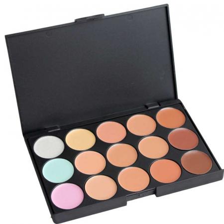Paleta profesionala cu 15 corectoare, LAROC 15 Natural Concealer Tones Palette1