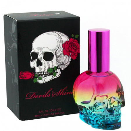 Apa de Toaleta Lilyz Devils Shine EDT Designed Skull Pink Blue Bottle, 60 ml