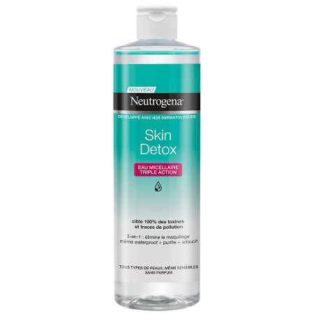 Apa Micelara pentru curatarea machiajului rezistent la apa, tripla actiune, Neutrogena Skin DETOX, 400 ml