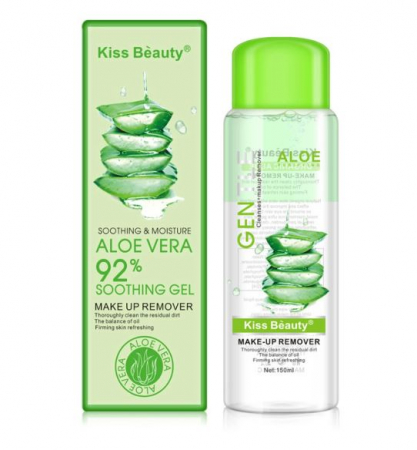 Demachiant Kiss Beauty cu extract natural de Aloe Vera, 92% Soothing Gel, 150 ml
