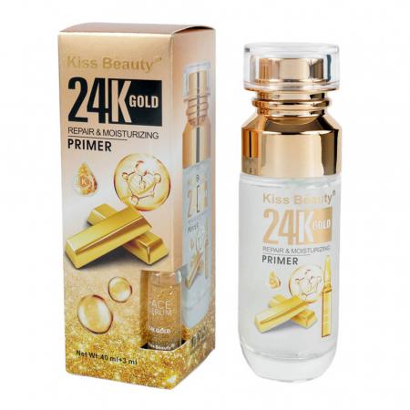 Baza de Machiaj si Ser Facial cu Particule de Aur 24K si Acid Hialuronic Kiss Beauty Repair & Moisturizing, 40 ml + 3 ml