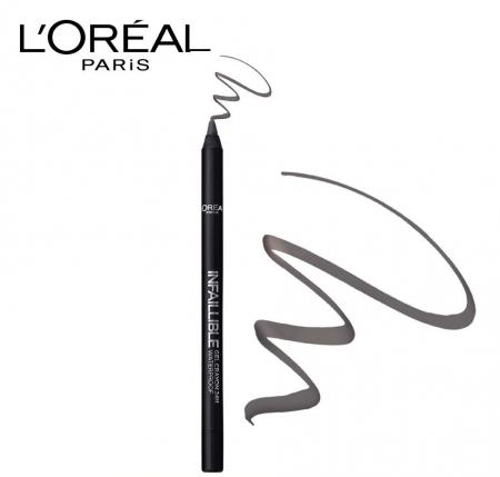 Creion de ochi rezistent la transfer L'Oreal Paris Infaillible Gel Crayon Waterproof 24H, 002 Grey Fever2