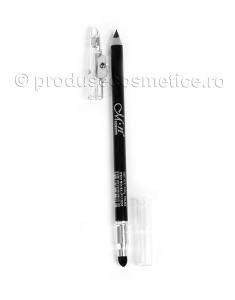 Creion de Ochi si Sprancene Dual Rezistent la transfer Menow cu Ascutitoare & Buretel Blending - Negru1