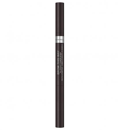 Creion pentru sprancene automatic Rimmel London Brow This Way Fill & Sculpt, 004 Soft Black1