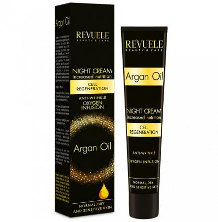 Crema anti-rid de noapte cu ulei de argan REVUELE Cell Regeneration, Oxygen Infusion, 50 ml