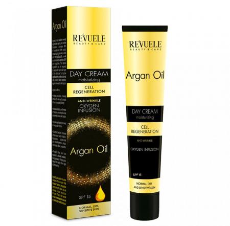 Crema anti-rid de zi cu ulei de argan REVUELE Cell Regeneration, Oxygen Infusion, SPF 15, 50 ml
