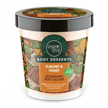 Mousse de corp nutritiv Organic Shop Body Desserts cu migdale și miere, 450 ml
