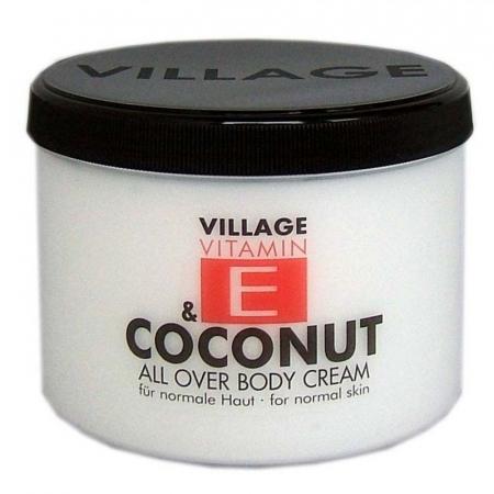 Crema De Corp VILLAGE COSMETICS Cu Vitamina E Si Cocos, 500 ml