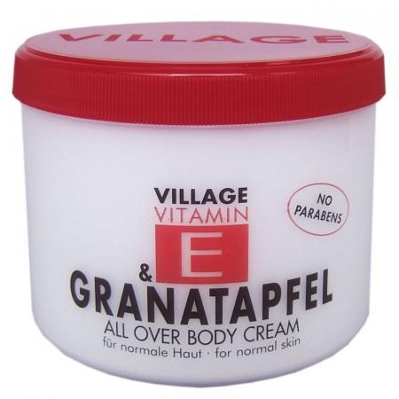Crema De Corp VILLAGE COSMETICS Cu Vitamina E si Rodie, 500 ml