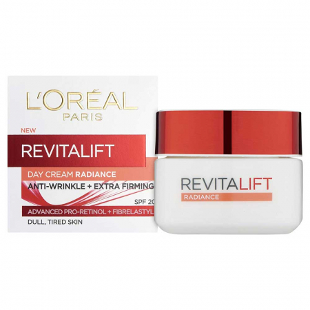Crema De Zi Anti Rid L'Oreal Paris Revitalift Radiance pentru piele terna, 50 ml