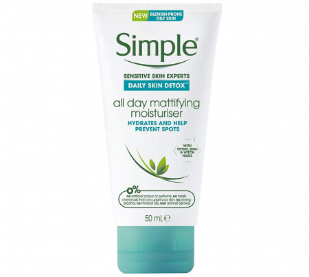 Crema matifianta pentru ten gras Simple DETOX All Day Mattifying Moisturiser, 50 ml