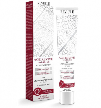 Crema concentrata anti-rid de zi REVUELE Age Revive Coenzyme Q10, Intense Lifting, SPF 15, 50 ml