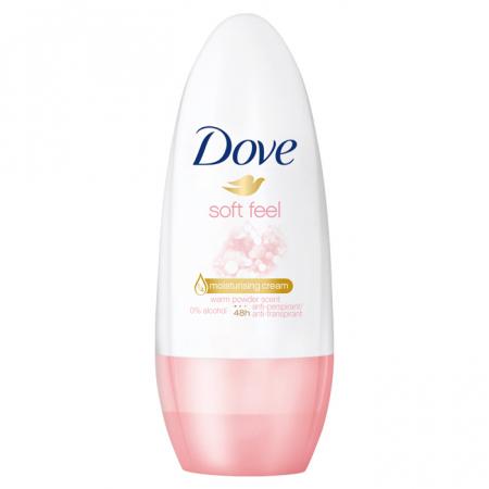 Deodorant antiperspirant roll-on Dove Soft Feel pentru pielea sensibila, Protectie 48H, 50 ml