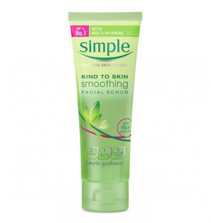 Exfoliant delicat pentru ten Simple Smoothing Facial Scrub cu granule de orez, 75 ml