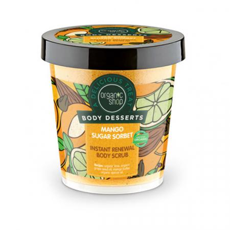 Exfoliant pentru corp Organic Shop Body Desserts din Sorbet de Mango pentru regenerare rapida, 450 ml