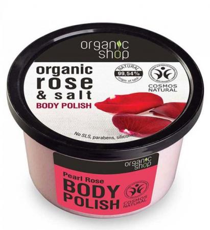 Exfoliant energizant pentru corp cu Sare Marina si Trandafir, Organic Shop Body Polish, Ingrediente 99.54% Naturale, 250 ml