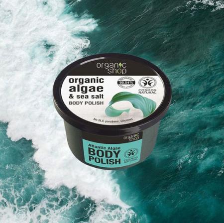 Exfoliant pentru corp cu Alge din Oceanul Atlantic si Sare Marina, Organic Shop Body Polish, Ingrediente 99.54% Naturale, 250 ml1