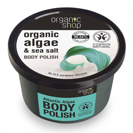 Exfoliant pentru corp cu Alge din Oceanul Atlantic si Sare Marina, Organic Shop Body Polish, Ingrediente 99.54% Naturale, 250 ml