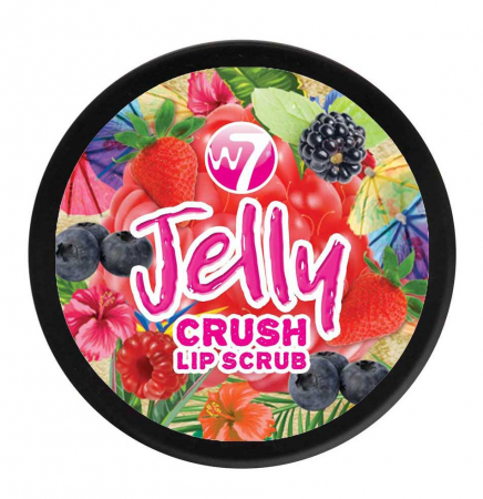 Exfoliant pentru buze W7 Jelly Crush Lip Scrub Pot, Juicy Blast Berry, 6 g