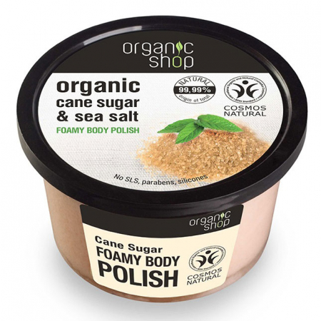 Exfoliant pentru corp din Trestie de Zahar si Sare Marina, Organic Shop Foamy Body Polish, Ingrediente 99.99% Naturale, 250 ml