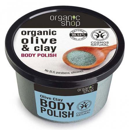 Exfoliant pentru corp cu Argila Naturala, Ulei de Masline si Sare Marina, Organic Shop Body Polish, Ingrediente 99.54% Naturale, 250 ml
