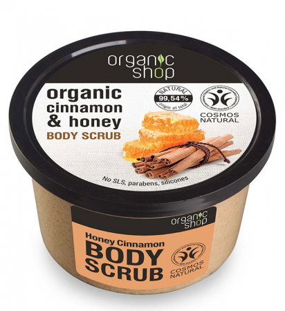 Scrub de corp delicios cu Miere si Scortisoara, Organic Shop Body Scrub, Ingrediente 99.54% Naturale, 250 ml