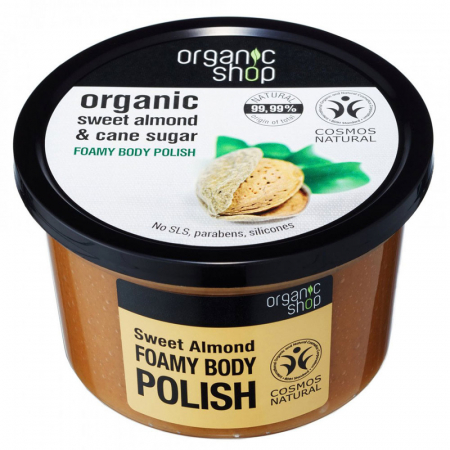 Exfoliant pentru corp din Migdale Dulci si Trestie de Zahar, Organic Shop Foamy Body Polish, Ingrediente 99.99% Naturale, 250 ml