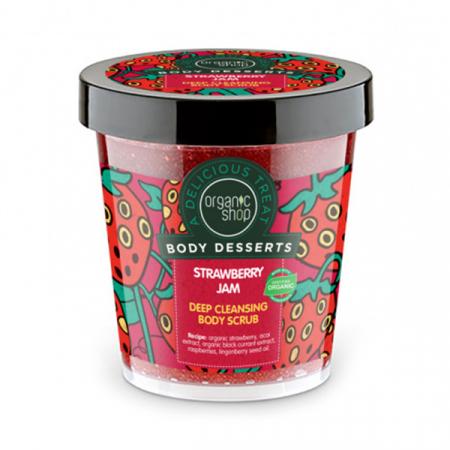 Exfoliant pentru corp Organic Shop Body Desserts cu gem de capsuni pentru curatare profunda, 450 ml