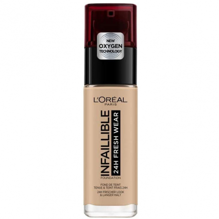 Fond de ten L'Oreal Paris Infaillible 24H Fresh Wear, 145 Rose Beige, 30 ml