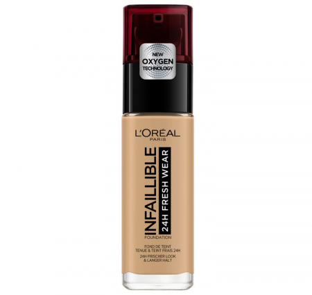 Fond de ten L'Oreal Paris Infaillible 24H Fresh Wear, 250 Radiant Sand, 30 ml