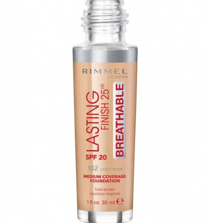 Fond de Ten Rimmel London Lasting Finish 25Hr Breathable, SPF20, 102 Light Nude, 30 ml1