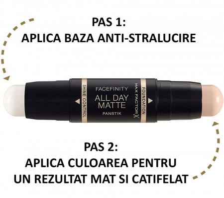 Fond de ten anti-stralucire Max Factor Facefinity All Day Matte Panstik, 45 Warm Almond1
