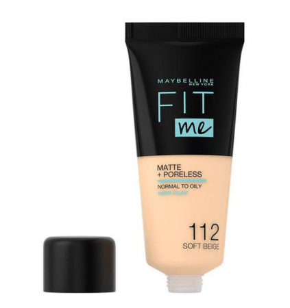 Fond de ten MAYBELLINE FIT ME Matte & Poreless 112 Soft Beige, 30 ml