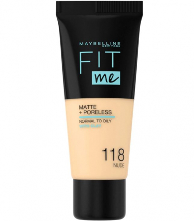 Fond de ten MAYBELLINE FIT ME Matte & Poreless 118 Nude, 30 ml