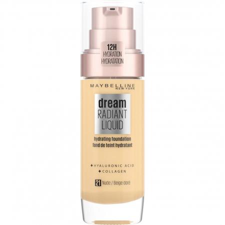 Fond de ten Maybelline New York Dream Radiant Liquid cu acid hyaluronic si colagen, 21 Nude, 30 ml