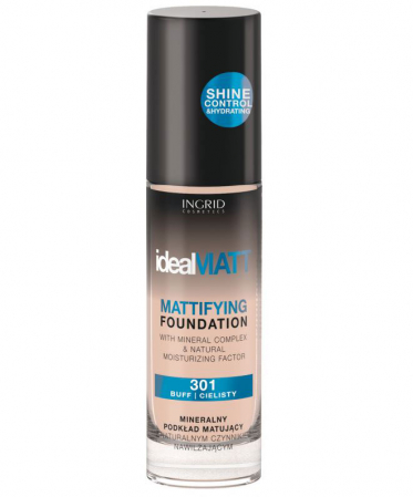 Fond de ten mat cu minerale, Ingrid Ideal MATT - 301 Buff, 30 ml