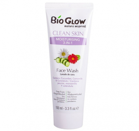 Gel de curatare facial 3 in 1, Bio Glow cu Musetel, Galbenele si Castraveti, 100 ml