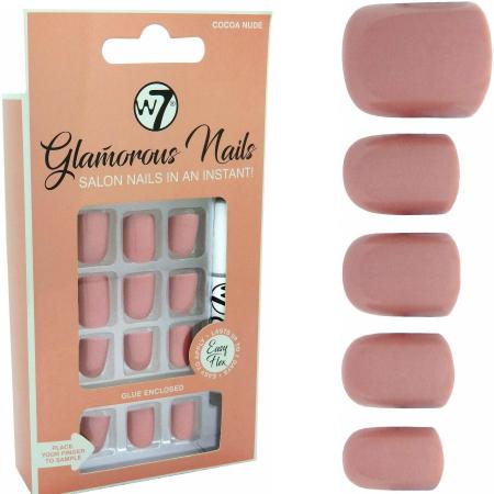 Kit 24 Unghii False W7 Glamorous Nails, Cocoa Nude, cu adeziv inclus si pila de unghii